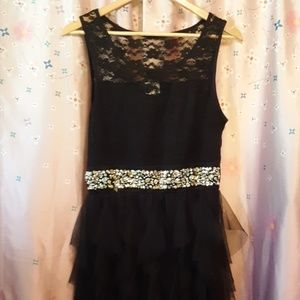 Deb's black dress with lace